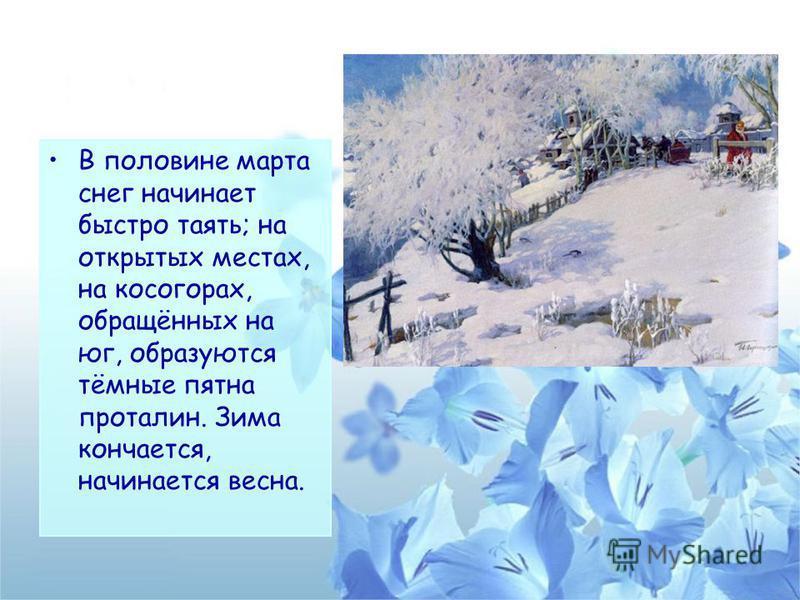 В половине марта снег начинает быстро таять; на открытых местах, на косогорах, обращённых на юг, образуются тёмные пятна проталин. Зима кончается, начинается весна.