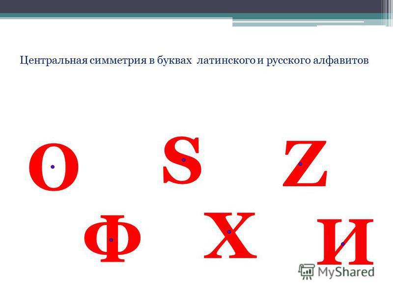 Центральная симметрия в буквах латинского и русского алфавитов О Ф S И Х Z