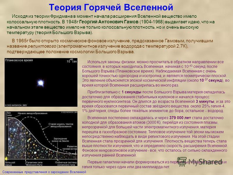 Теория Горячей Вселенной Используя законы физики, можно просчитать в обратном направлении все состояния, в которых находилась Вселенная, начиная с 10 -43 секунд после Большого Взрыва (Планковское время). Наблюдаемая Вселенная с очень хорошей точность