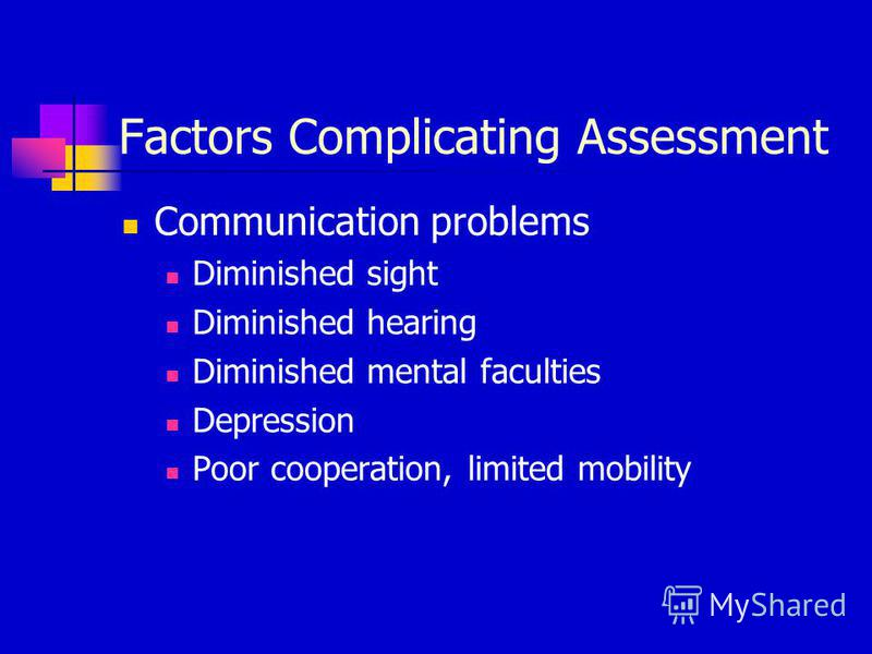 Factors Complicating Assessment Communication problems Diminished sight Diminished hearing Diminished mental faculties Depression Poor cooperation, limited mobility
