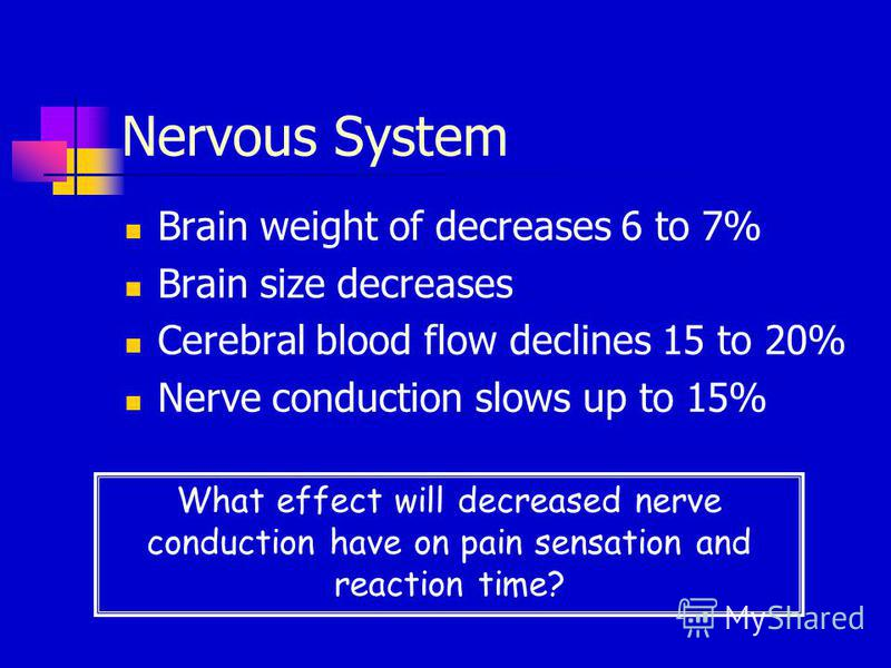 Nervous System Brain weight of decreases 6 to 7% Brain size decreases Cerebral blood flow declines 15 to 20% Nerve conduction slows up to 15% What effect will decreased nerve conduction have on pain sensation and reaction time?
