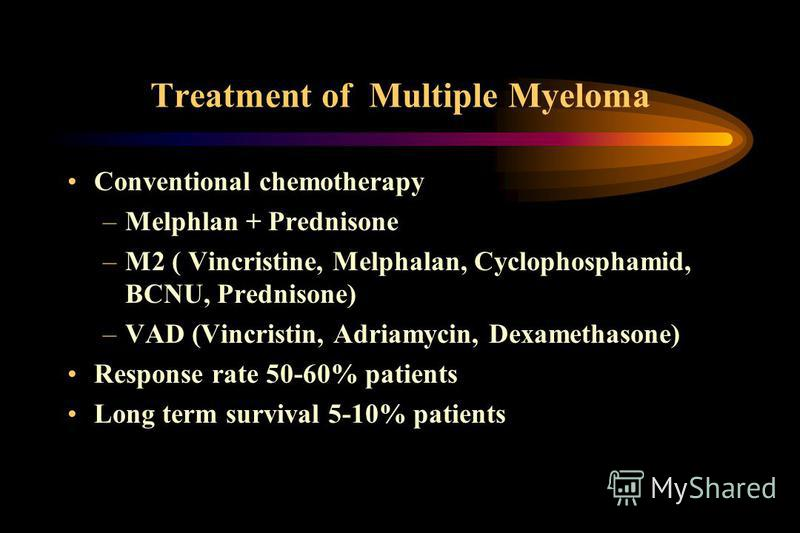 Treatment of Multiple Myeloma Conventional chemotherapy –Melphlan + Prednisone –M2 ( Vincristine, Melphalan, Cyclophosphamid, BCNU, Prednisone) –VAD (Vincristin, Adriamycin, Dexamethasone) Response rate 50-60% patients Long term survival 5-10% patien