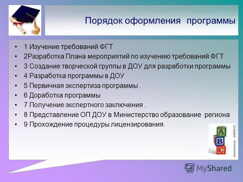 Порядок оформления программы 1 Изучение требований ФГТ 2Разработка Плана мероприятий по изучению требований ФГТ 3 Создание творческой группы в ДОУ для разработки программы 4 Разработка программы в ДОУ 5 Первичная экспертиза программы. 6 Доработка про