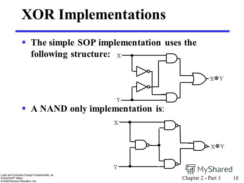 Chapter 2 - Part 3 16 XOR Implementations The simple SOP implementation uses the following structure: A NAND only implementation is: X Y X Y X Y X Y