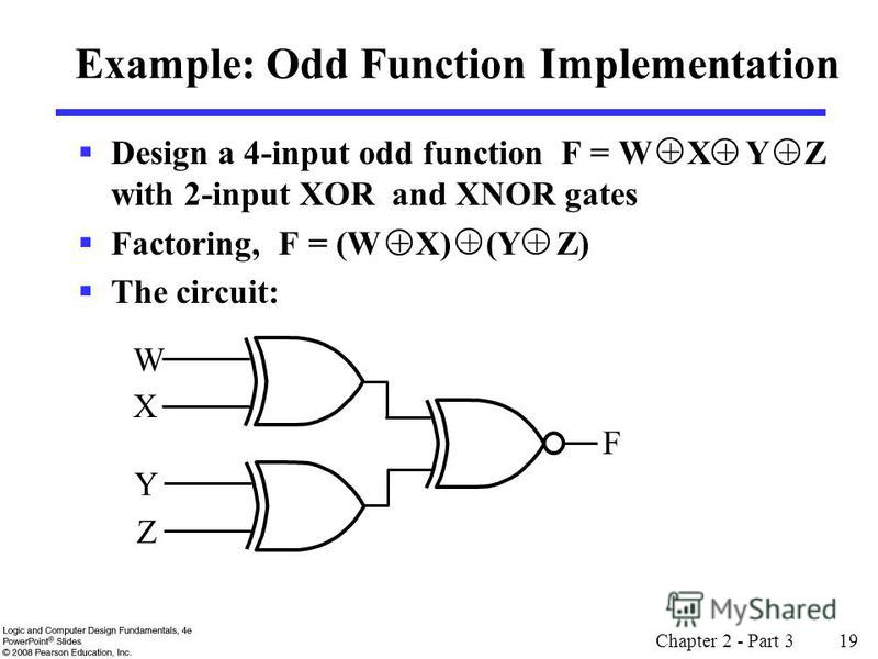 Design a 4-input odd function F = W X Y Z with 2-input XOR and XNOR gates Factoring, F = (W X) (Y Z) The circuit: Chapter 2 - Part 3 19 Example: Odd Function Implementation + ++ + ++ W X Y F Z