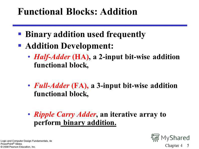 Chapter 4 5 Functional Blocks: Addition Binary addition used frequently Addition Development: Half-Adder (HA), a 2-input bit-wise addition functional block, Full-Adder (FA), a 3-input bit-wise addition functional block, Ripple Carry Adder, an iterati