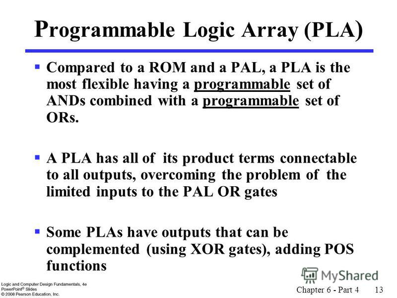 Chapter 6 - Part 4 13 P rogrammable Logic Array (PLA ) Compared to a ROM and a PAL, a PLA is the most flexible having a programmable set of ANDs combined with a programmable set of ORs. A PLA has all of its product terms connectable to all outputs, o