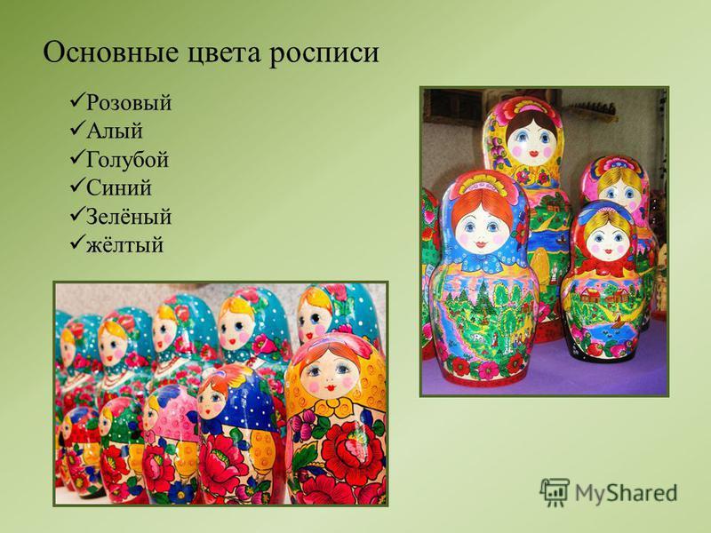 Основные цвета росписи Розовый Алый Голубой Синий Зелёный жёлтый