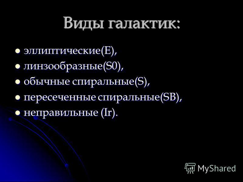 Виды галактик: эллиптические(E), эллиптические(E), линзообразные(S0), линзообразные(S0), обычные спиральные(S), обычные спиральные(S), пересеченные спиральные(SB), пересеченные спиральные(SB), неправильные (Ir). неправильные (Ir).