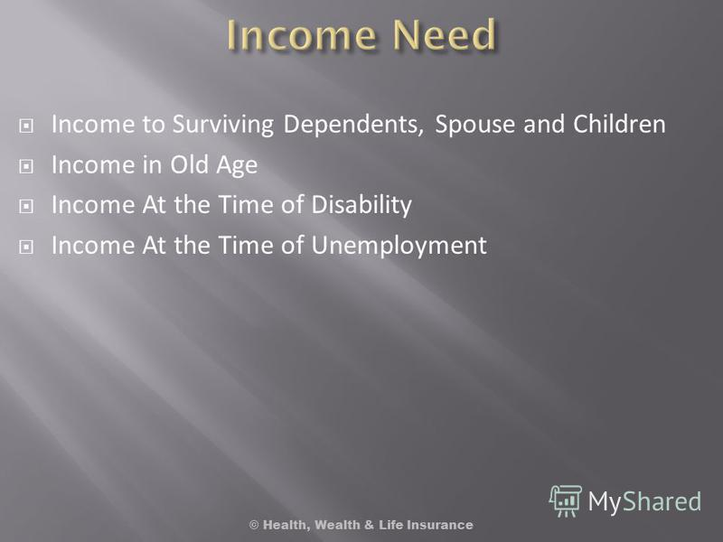 Income to Surviving Dependents, Spouse and Children Income in Old Age Income At the Time of Disability Income At the Time of Unemployment © Health, Wealth & Life Insurance