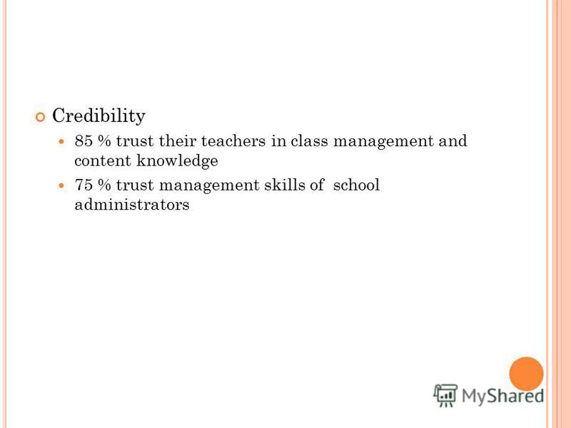 Credibility 85 % trust their teachers in class management and content knowledge 75 % trust management skills of school administrators