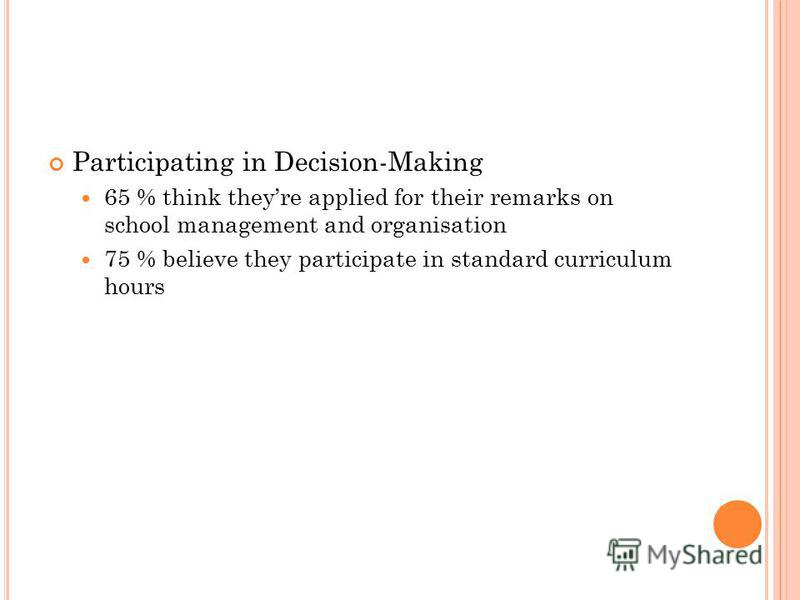 Participating in Decision-Making 65 % think theyre applied for their remarks on school management and organisation 75 % believe they participate in standard curriculum hours