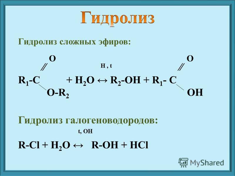 Гидролиз сложных эфиров: H, t R 1 -C + H 2 O R 2 -OH + R 1 - C O-R 2 OH Гидролиз галогеноводородов: t, OH R-Cl + H 2 O R-OH + HCl ОО