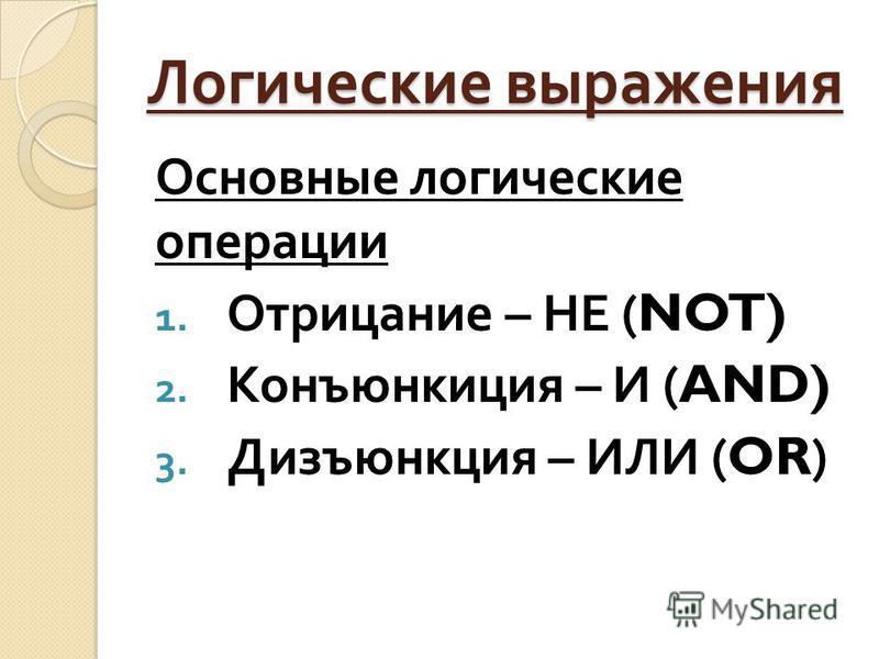Логические выражения Основные логические операции 1. Отрицание – НЕ (NOT) 2. Конъюнкиция – И (AND) 3. Дизъюнкция – ИЛИ (OR)