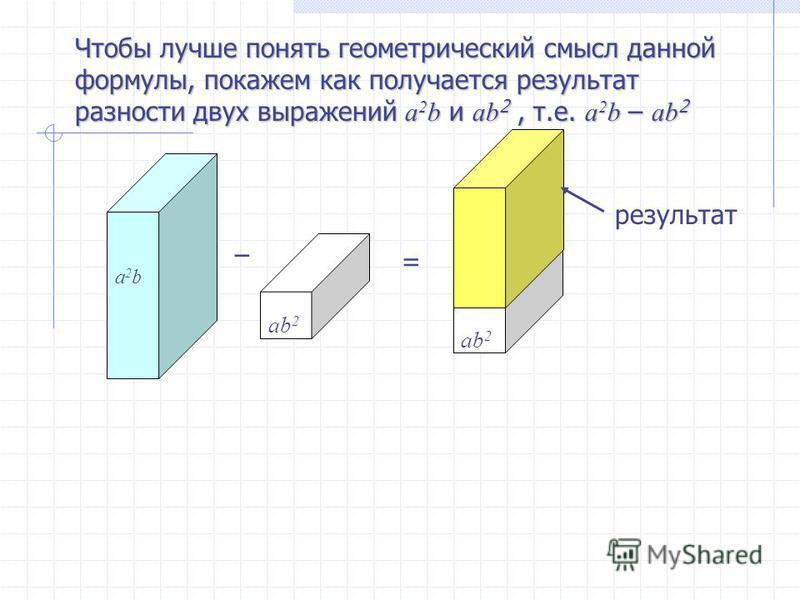 Чтобы лучше понять геометрический смысл данной формулы, покажем как получается результат разности двух выражений a 2 b и ab 2, т.е. a 2 b – ab 2 a2ba2b ab 2 – = результат