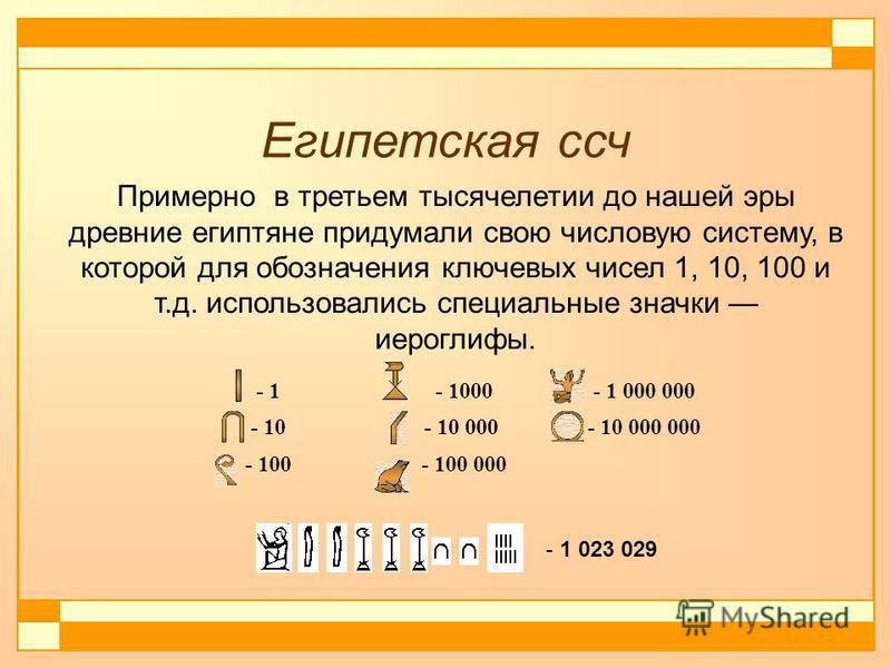 Египетская сч - 1 - 1000 - 1 000 000 - 10- 10 000 - 10 000 000 - 100 - 100 000 Примерно в третьем тысячелетии до нашей эры древние египтяне придумали свою числовую систему, в которой для обозначения ключевых чисел 1, 10, 100 и т.д. использовались спе