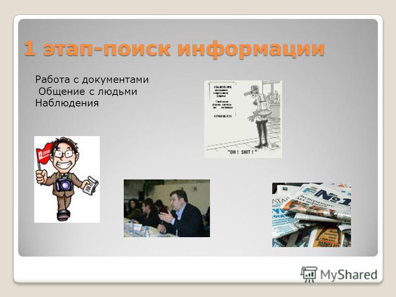 1 этап-поиск информации Работа с документами Общение с людьми Наблюдения