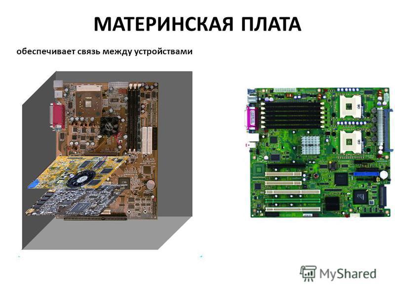 МАТЕРИНСКАЯ ПЛАТА обеспечивает связь между устройствами
