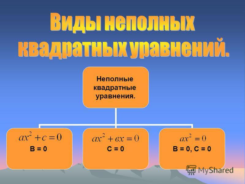 Неполные квадратные уравнения. В = 0С = 0В = 0, С = 0