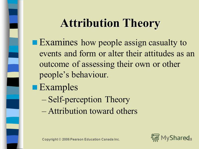 7-18 Copyright © 2006 Pearson Education Canada Inc. Attribution Theory Examines how people assign casualty to events and form or alter their attitudes as an outcome of assessing their own or other peoples behaviour. Examples –Self-perception Theory –