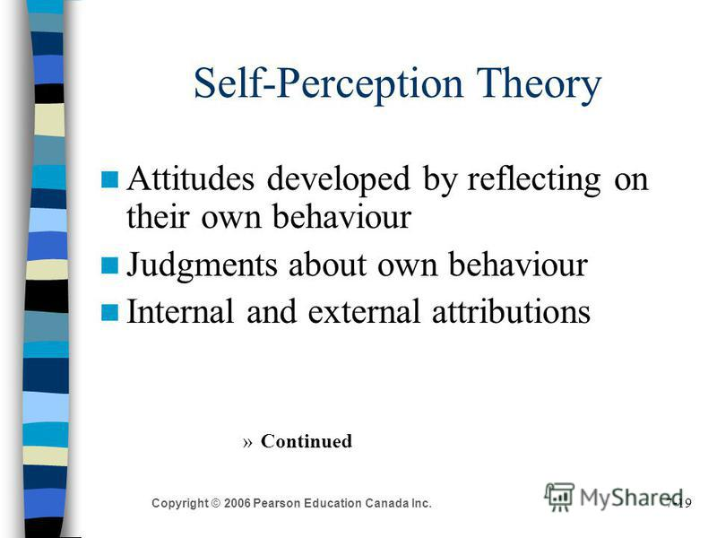 7-19 Copyright © 2006 Pearson Education Canada Inc. Self-Perception Theory Attitudes developed by reflecting on their own behaviour Judgments about own behaviour Internal and external attributions »Continued