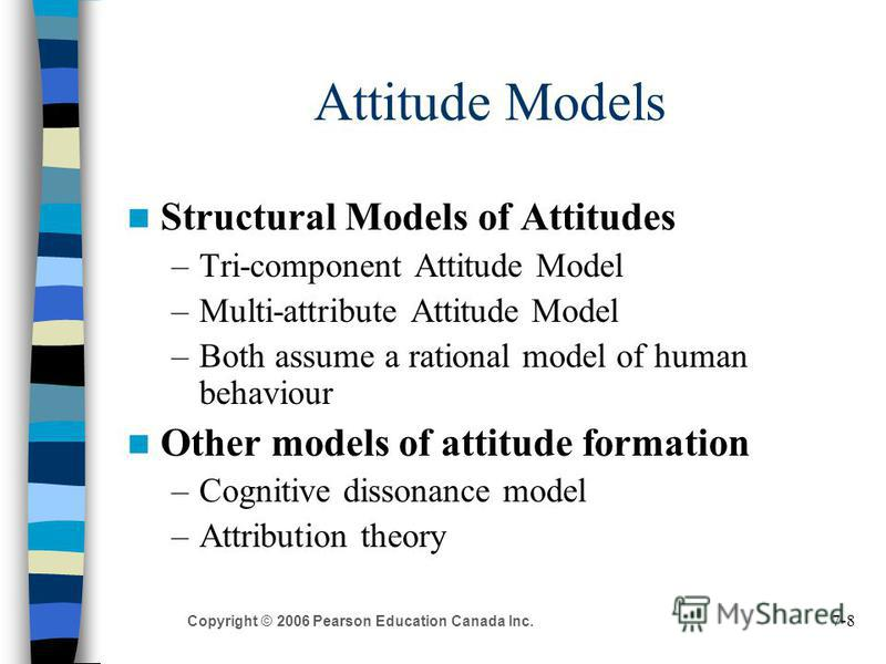 7-8 Copyright © 2006 Pearson Education Canada Inc. Attitude Models Structural Models of Attitudes –Tri-component Attitude Model –Multi-attribute Attitude Model –Both assume a rational model of human behaviour Other models of attitude formation –Cogni