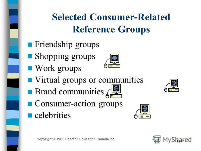 Copyright © 2006 Pearson Education Canada Inc. 12-7 Selected Consumer-Related Reference Groups Friendship groups Shopping groups Work groups Virtual groups or communities Brand communities Consumer-action groups celebrities