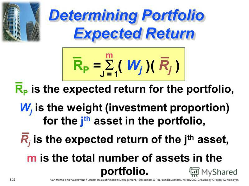 5.23 Van Horne and Wachowicz, Fundamentals of Financial Management, 13th edition. © Pearson Education Limited 2009. Created by Gregory Kuhlemeyer. R P = ( W j )( R j ) R P is the expected return for the portfolio, W j is the weight (investment propor