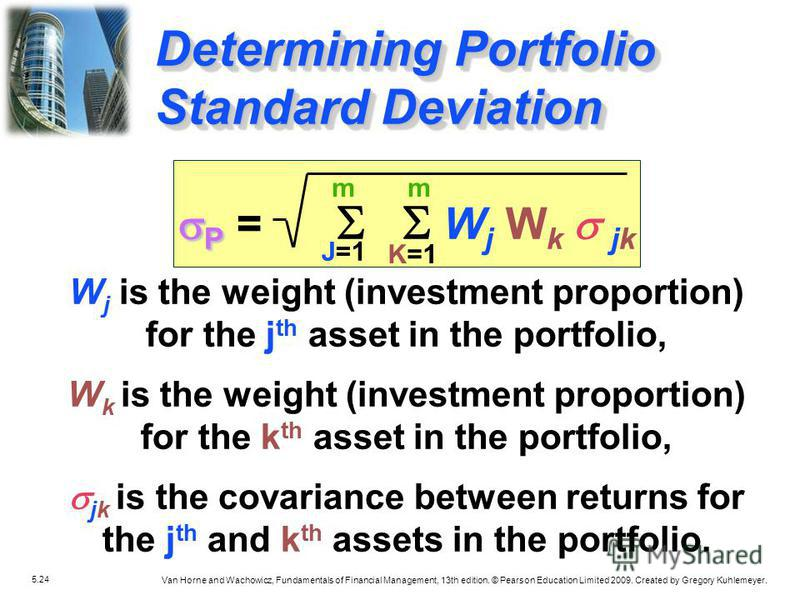 5.24 Van Horne and Wachowicz, Fundamentals of Financial Management, 13th edition. © Pearson Education Limited 2009. Created by Gregory Kuhlemeyer. Determining Portfolio Standard Deviation m J=1 m K=1 P P = W j W k jk W j is the weight (investment pro