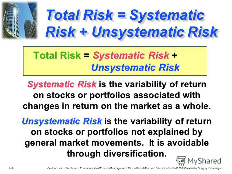 5.38 Van Horne and Wachowicz, Fundamentals of Financial Management, 13th edition. © Pearson Education Limited 2009. Created by Gregory Kuhlemeyer. Systematic Risk Systematic Risk is the variability of return on stocks or portfolios associated with ch