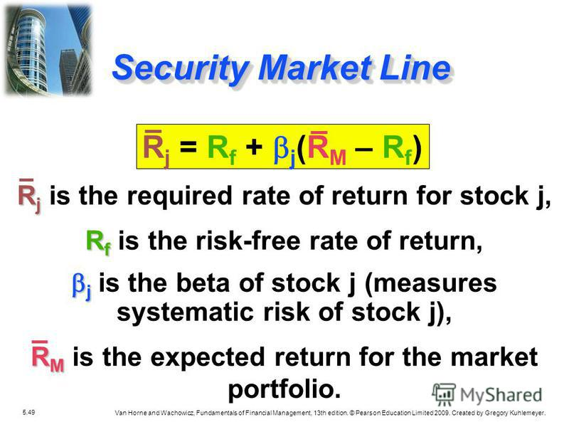 5.49 Van Horne and Wachowicz, Fundamentals of Financial Management, 13th edition. © Pearson Education Limited 2009. Created by Gregory Kuhlemeyer. R j R j is the required rate of return for stock j, R f R f is the risk-free rate of return, j j is the