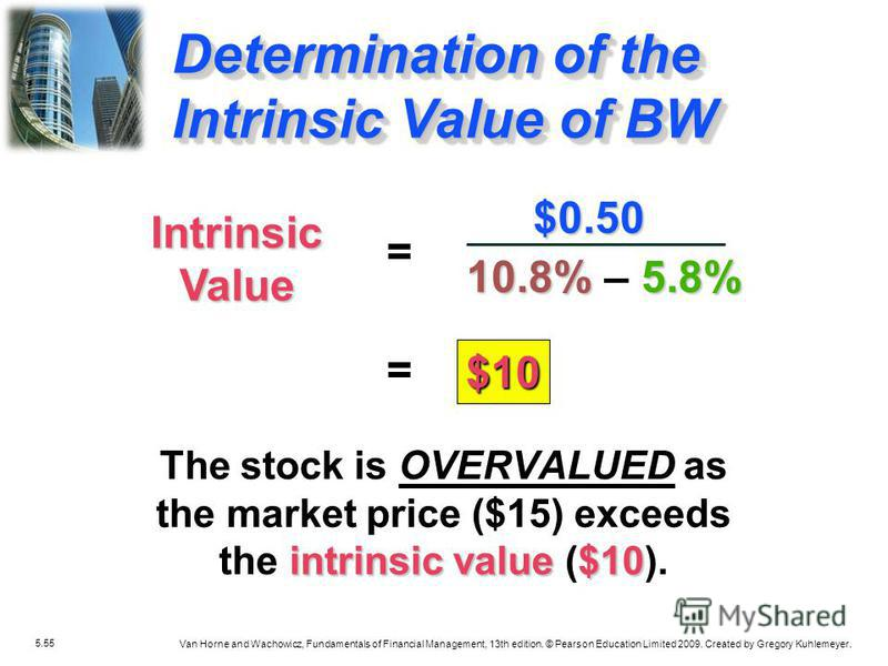 5.55 Van Horne and Wachowicz, Fundamentals of Financial Management, 13th edition. © Pearson Education Limited 2009. Created by Gregory Kuhlemeyer. intrinsic value $10 The stock is OVERVALUED as the market price ($15) exceeds the intrinsic value ($10)