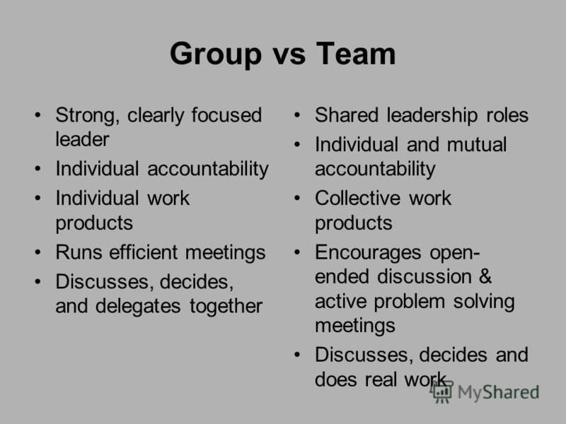 Group vs Team Strong, clearly focused leader Individual accountability Individual work products Runs efficient meetings Discusses, decides, and delegates together Shared leadership roles Individual and mutual accountability Collective work products E
