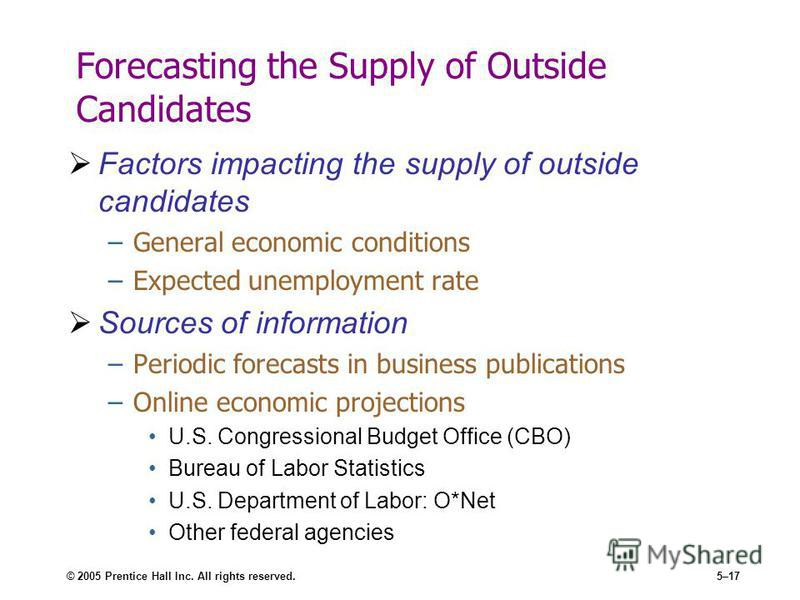 © 2005 Prentice Hall Inc. All rights reserved.5–17 Forecasting the Supply of Outside Candidates Factors impacting the supply of outside candidates –General economic conditions –Expected unemployment rate Sources of information –Periodic forecasts in