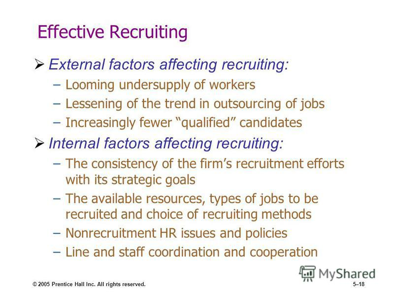 © 2005 Prentice Hall Inc. All rights reserved.5–18 Effective Recruiting External factors affecting recruiting: –Looming undersupply of workers –Lessening of the trend in outsourcing of jobs –Increasingly fewer qualified candidates Internal factors af