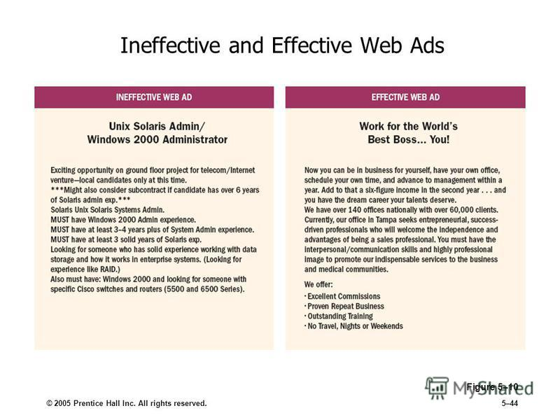 © 2005 Prentice Hall Inc. All rights reserved.5–44 Ineffective and Effective Web Ads Figure 5–10