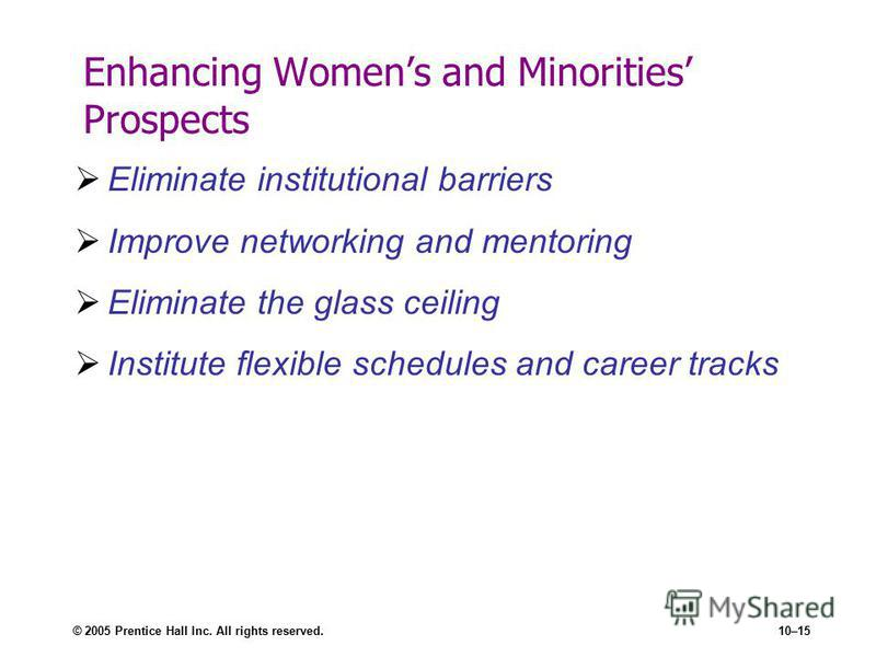 © 2005 Prentice Hall Inc. All rights reserved.10–15 Enhancing Womens and Minorities Prospects Eliminate institutional barriers Improve networking and mentoring Eliminate the glass ceiling Institute flexible schedules and career tracks