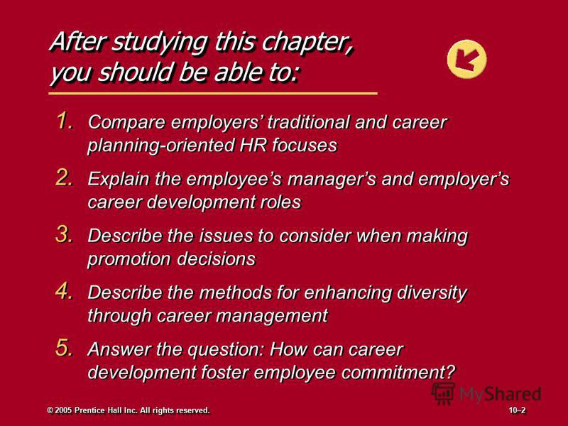 After studying this chapter, you should be able to: 1. Compare employers traditional and career planning-oriented HR focuses 2. Explain the employees managers and employers career development roles 3. Describe the issues to consider when making promo