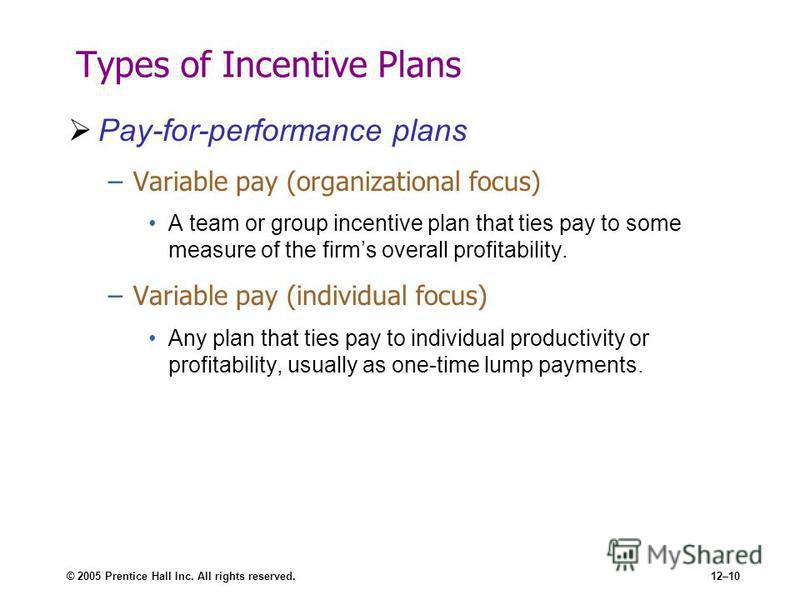 © 2005 Prentice Hall Inc. All rights reserved.12–10 Types of Incentive Plans Pay-for-performance plans –Variable pay (organizational focus) A team or group incentive plan that ties pay to some measure of the firms overall profitability. –Variable pay