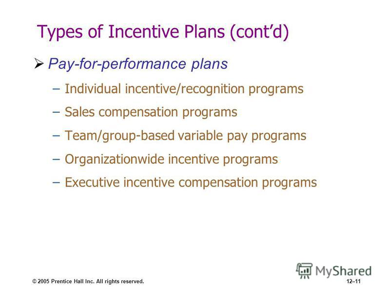 © 2005 Prentice Hall Inc. All rights reserved.12–11 Types of Incentive Plans (contd) Pay-for-performance plans –Individual incentive/recognition programs –Sales compensation programs –Team/group-based variable pay programs –Organizationwide incentive