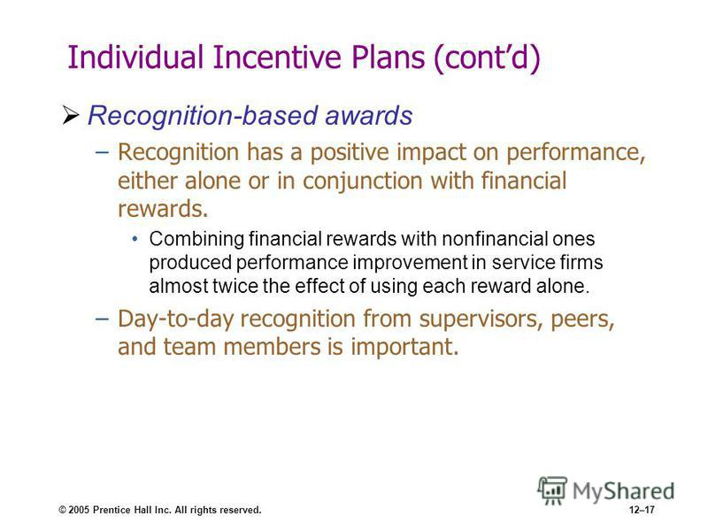 © 2005 Prentice Hall Inc. All rights reserved.12–17 Individual Incentive Plans (contd) Recognition-based awards –Recognition has a positive impact on performance, either alone or in conjunction with financial rewards. Combining financial rewards with