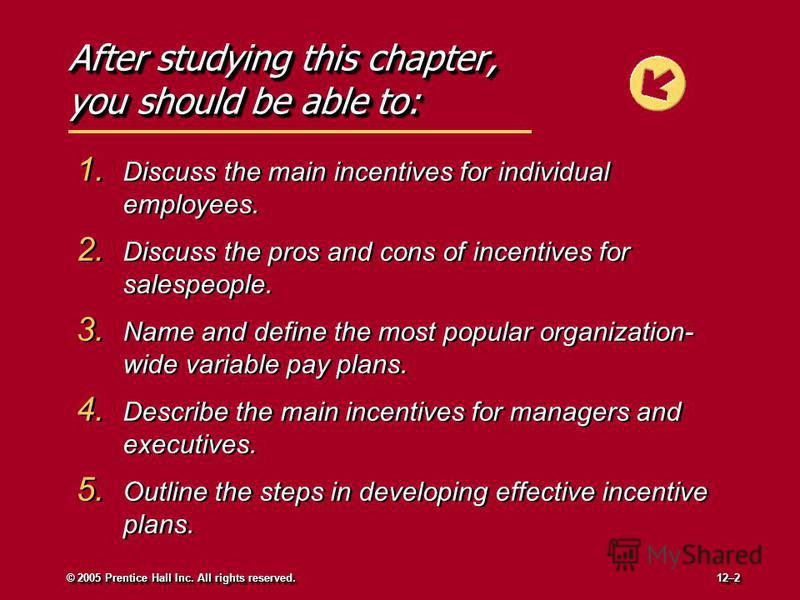 After studying this chapter, you should be able to: 1. Discuss the main incentives for individual employees. 2. Discuss the pros and cons of incentives for salespeople. 3. Name and define the most popular organization- wide variable pay plans. 4. Des