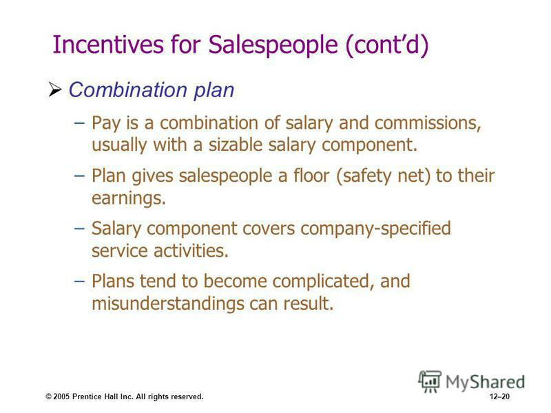 © 2005 Prentice Hall Inc. All rights reserved.12–20 Incentives for Salespeople (contd) Combination plan –Pay is a combination of salary and commissions, usually with a sizable salary component. –Plan gives salespeople a floor (safety net) to their ea