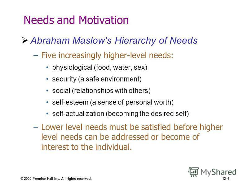 © 2005 Prentice Hall Inc. All rights reserved.12–6 Needs and Motivation Abraham Maslows Hierarchy of Needs –Five increasingly higher-level needs: physiological (food, water, sex) security (a safe environment) social (relationships with others) self-e