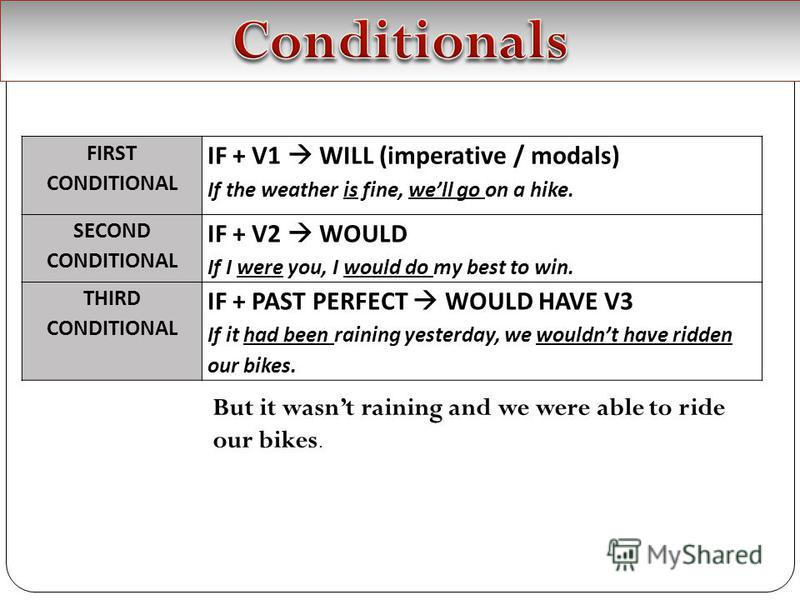 FIRST CONDITIONAL IF + V1 WILL (imperative / modals) If the weather is fine, well go on a hike. SECOND CONDITIONAL IF + V2 WOULD If I were you, I would do my best to win. THIRD CONDITIONAL IF + PAST PERFECT WOULD HAVE V3 If it had been raining yester