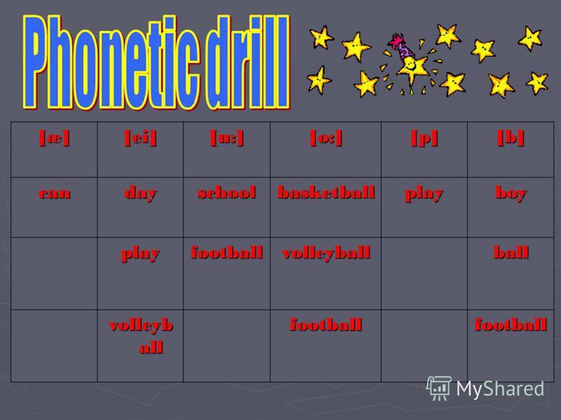 [æ][æ][æ][æ] [ei] [u:] [o:] [p][p][p][p] [b][b][b][b]candayschoolbasketballplayboy playfootballvolleyballball volleyb all footballfootball