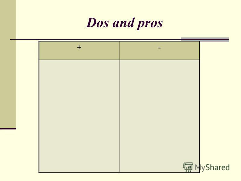 Dos and pros +-