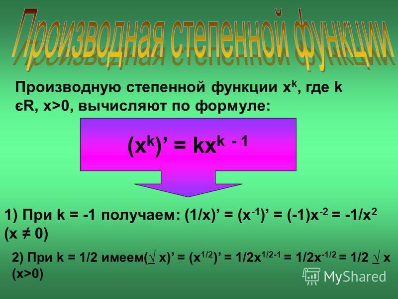 Производную степенной функции x k, где k єR, x>0, вычисляют по формуле: (x k ) = kx k - 1 1) При k = -1 получаем: (1/x) = (x -1 ) = (-1)x -2 = -1/x 2 (x 0) 2) При k = 1/2 имеем( x) = (x 1/2 ) = 1/2x 1/2-1 = 1/2x -1/2 = 1/2 x (x>0)