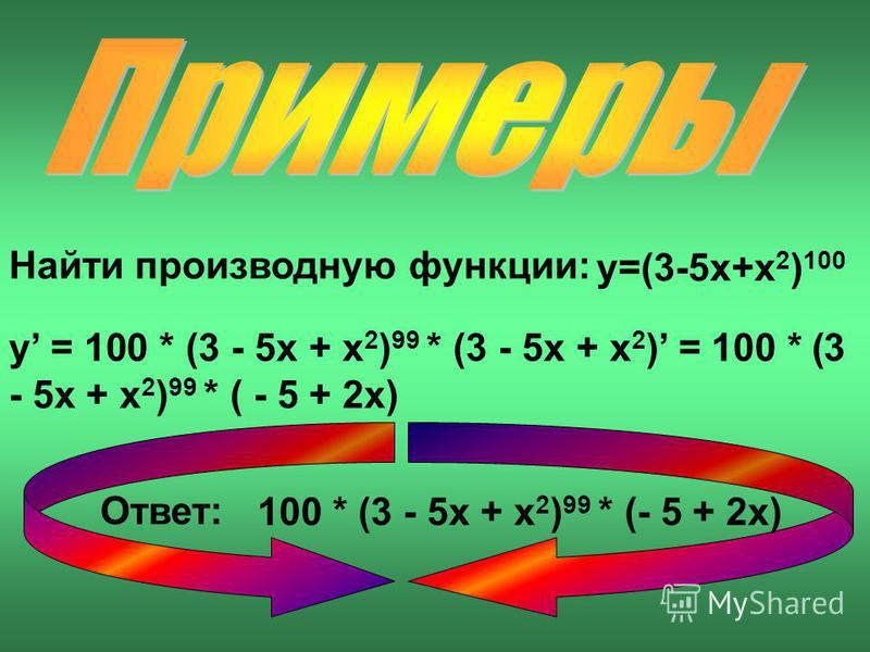 Найти производную функции: y=(3-5x+x 2 ) 100 y = 100 * (3 - 5x + x 2 ) 99 * (3 - 5x + x 2 ) = 100 * (3 - 5x + x 2 ) 99 * ( - 5 + 2x) Ответ: 100 * (3 - 5x + x 2 ) 99 * (- 5 + 2x)