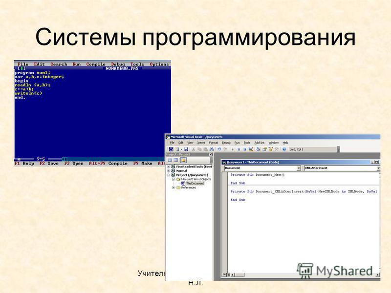 Учитель информатики Бутюнина Н.Л. Системы программирования